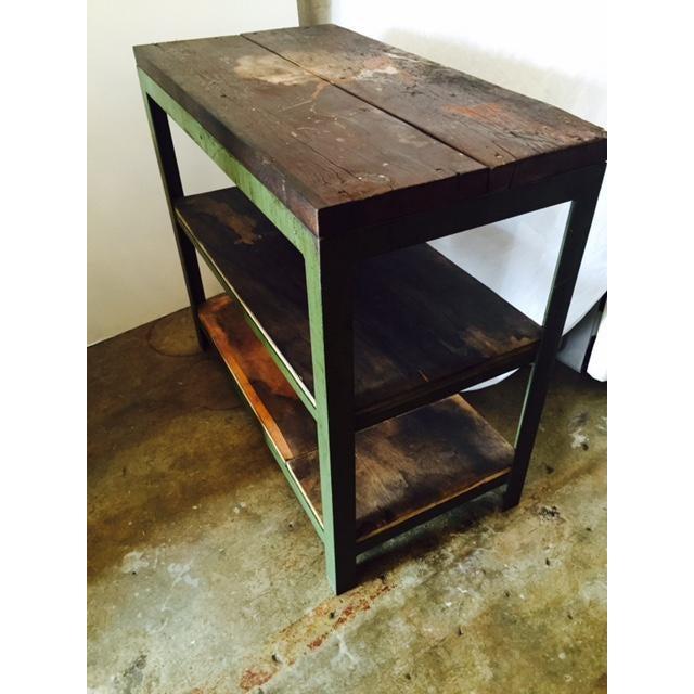 Vintage Steel and Wood Industrial Table - Image 4 of 6