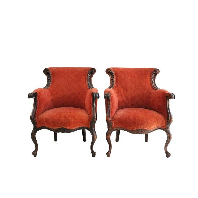 Crimson Club Chairs - A Pair - Image 1 of 3