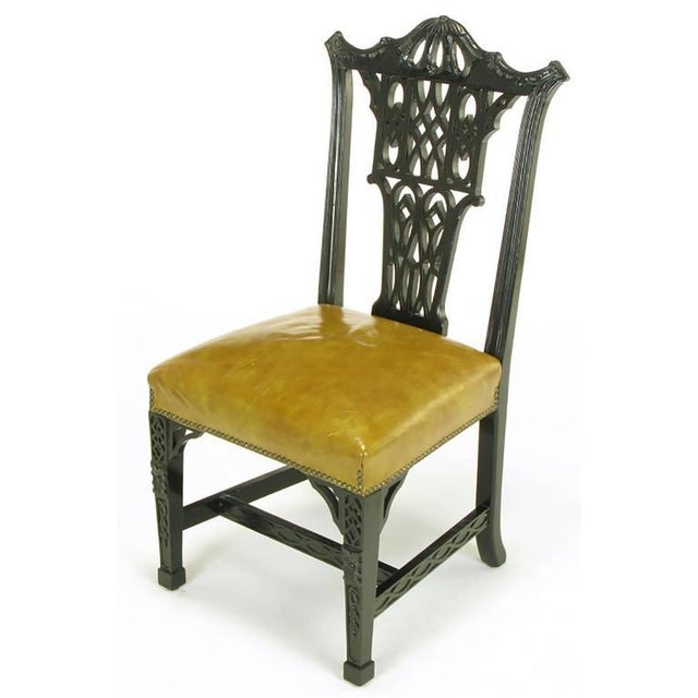 Eight Chinese Chippendale Ebonized Mahogany Dining Chairs with Leather Seats - Image 3 of 9