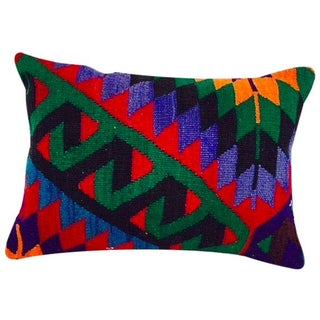 Turkish Green Geometric Kilim Pillow