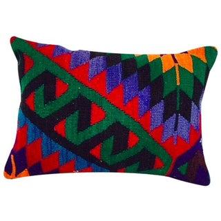 Turkish Green Geometric Kilim Pillow