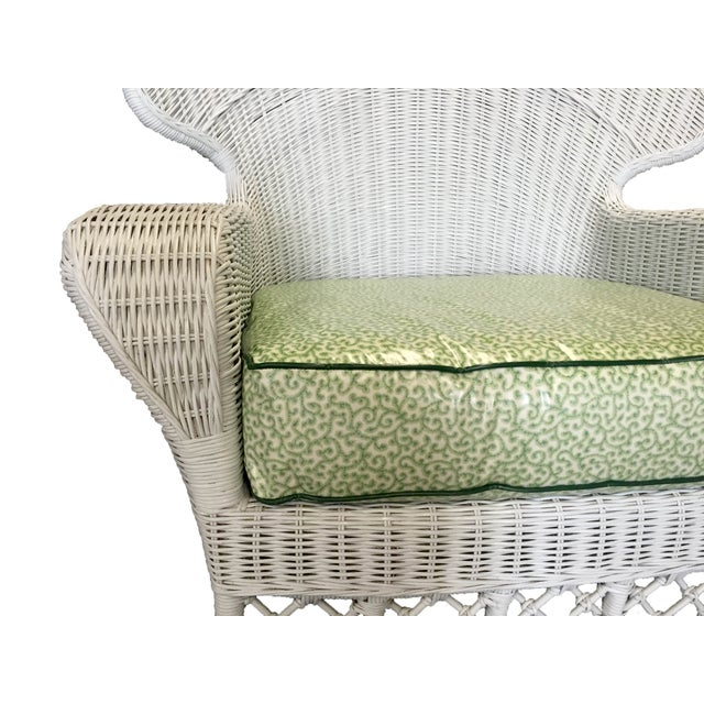 Ficks Reed Vintage White Wicker Armchairs - Pair - Image 2 of 5