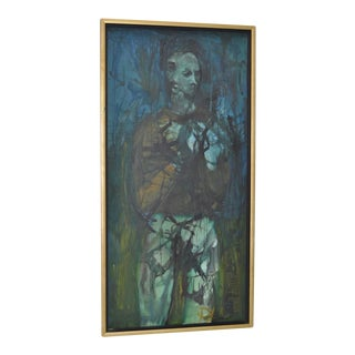 Vintage 1960s Figural Abstract Oil Painting on Canvas