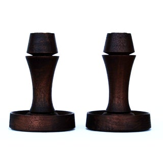 Wooden Candle Holders - A Pair