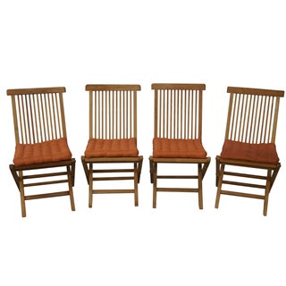 Teak Folding Deck Chairs - Set of 4