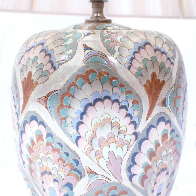 Vintage Pastel Marbleized Ceramic Lamps - A Pair - Image 4 of 8