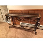 Image of Antique Metal and Pompeii Leather Sofa Table