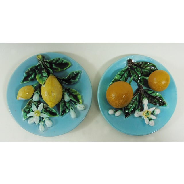Majolica Lemons & Oranges Plates - A Pair - Image 2 of 4