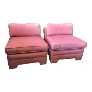 Custom Upholstered Scroll Back Chairs - A Pair