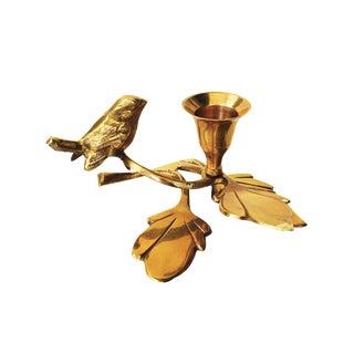Vintage Brass Songbird Candleholder