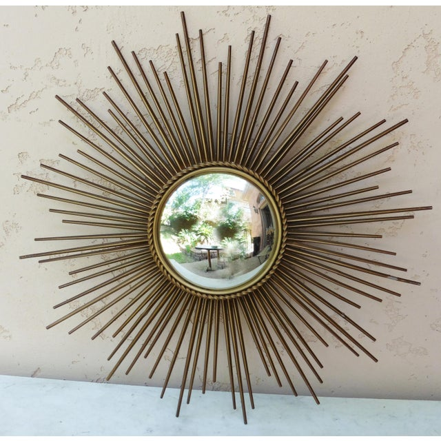 Chaty Vallauris Sunburst Convex Metal Mirror - Image 2 of 4