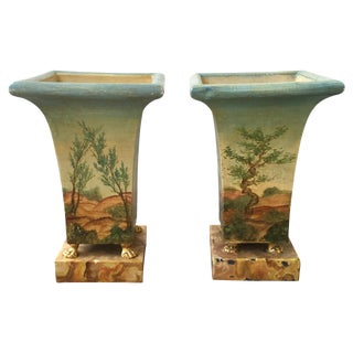 20th Century French Painted Urns - A Pair