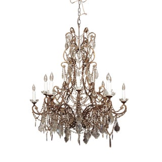 Large Italian Bead and Crystal Chandelier