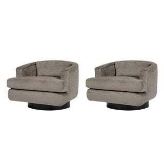 Pair of Swivel Lounge Chairs by Milo Baughman