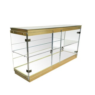 1970s Lucite & Brass Mirrored Display Cabinet