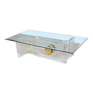 Large Rectangular Glass Top Thick Lucite and Brass Base Coffee Table