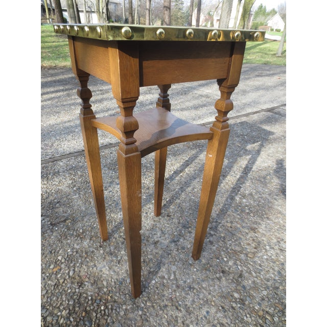 Brass Bradded and Wrapped Wine Table - Image 5 of 5