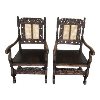 1890 Italian Oak Carved Cherubs Chairs - A Pair