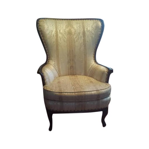 Image of Antique 1920s Carved Mahogany Wing Back Chair