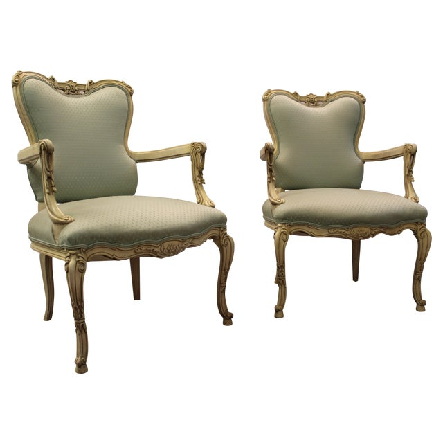 French Louis XV Ladies Open Arm Chairs - A Pair - Image 1 of 11
