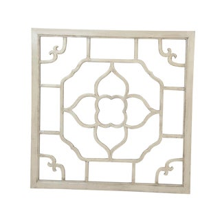 "Ivory Lacquered Floral Screen - 24"" x 24"""