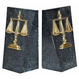 Scales of Justice Marble Bookends - A Pair