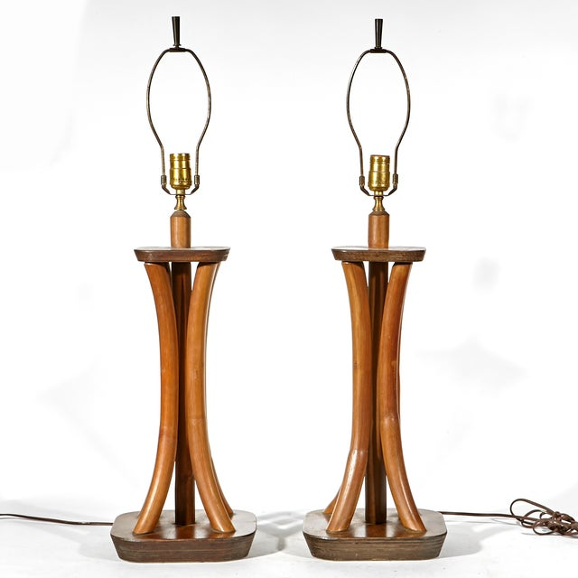 Image of Vintage 1950s Walnut & Bamboo Table Lamps - A Pair