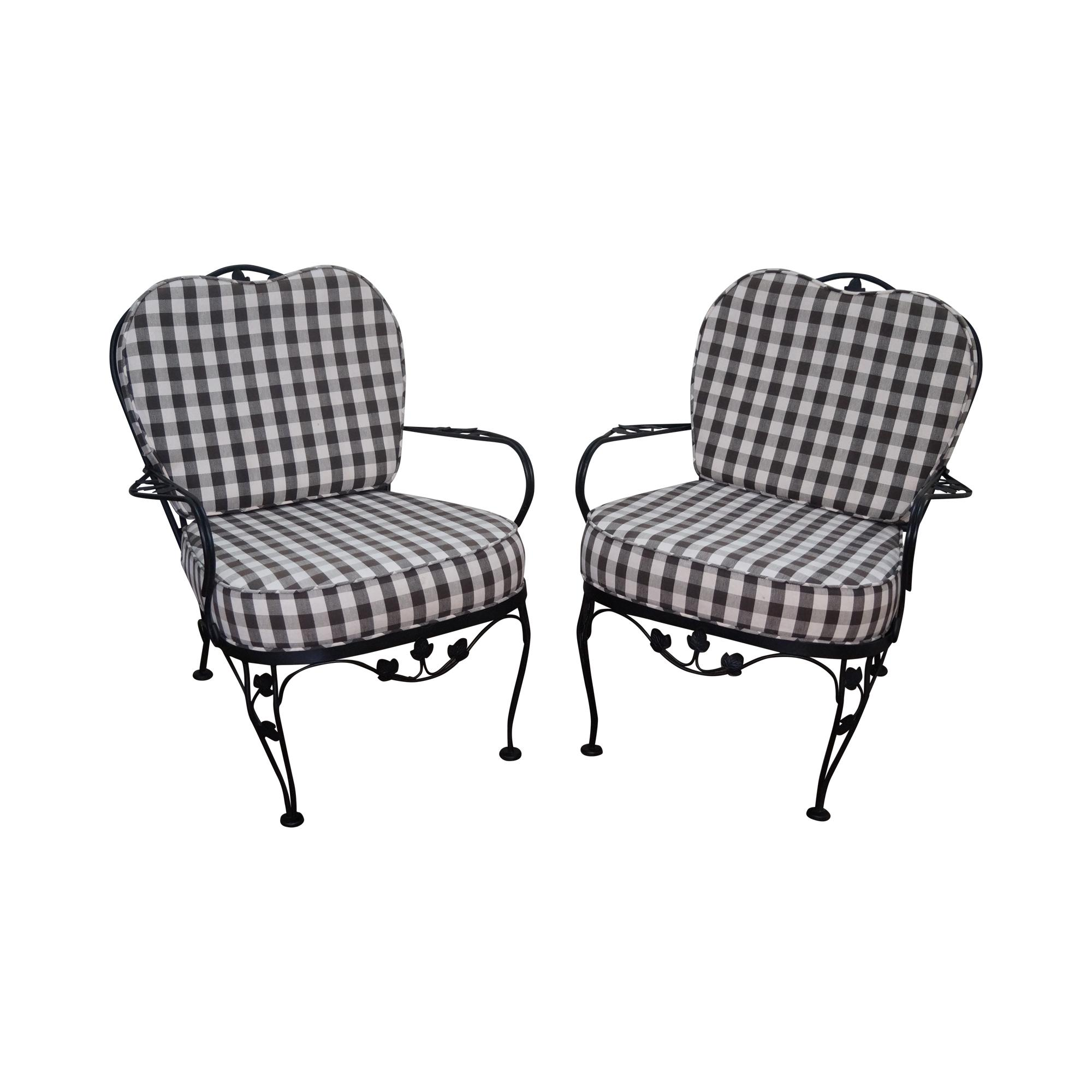 Woodard Vintage Black Iron Patio Lounge Chairs A Pair