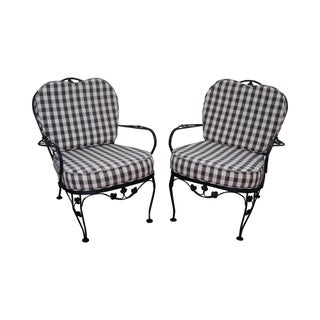 Woodard Vintage Black Iron Patio Lounge Chairs - A Pair