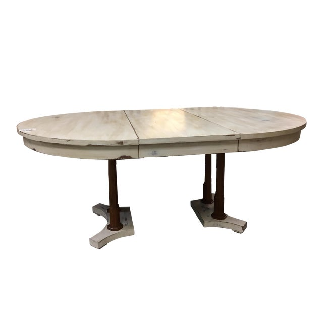 Expandable round farm table chairish for Buy expanding round table
