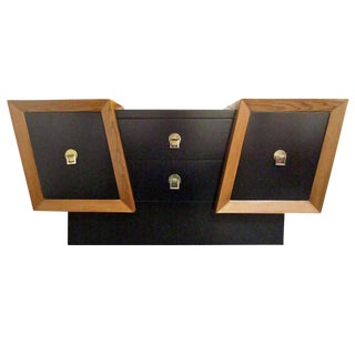 Unusual Diagonal Black Lacquer And Oak Credenza