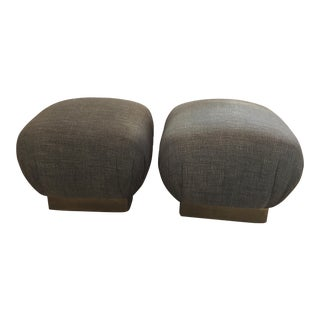 Pouf-Style Brown Ottomans - A Pair