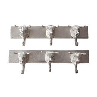 Aluminum Western Bull Head Coat Hooks - Pair