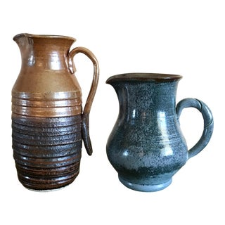 Studio Pottery Duo Signed Vases - Pair