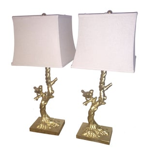 Gilt Gold Birds on a Branch Lamps - Pair