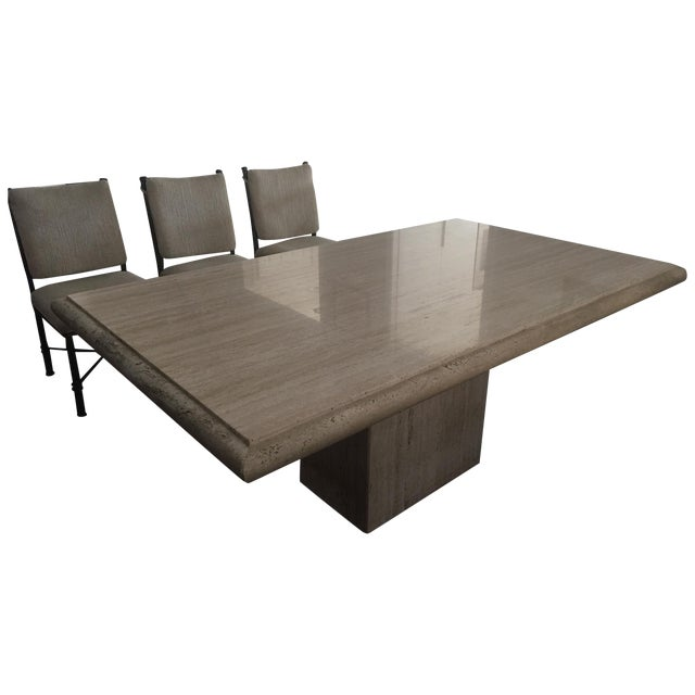 Italian Travertine Dining Room Set - Image 1 of 7