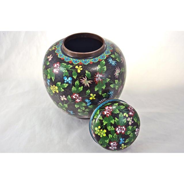 Antique Floral Cloisonné Longevity Jar - Image 5 of 9