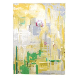 Yellow and Green Abstract Painting 'Overcast'