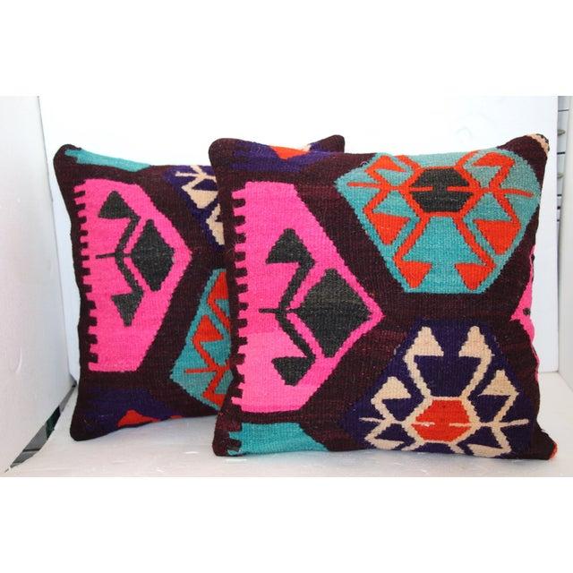 Neon Turkish Kilim Cushions - Pair - Image 2 of 7