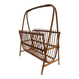 Franco Albini Italian Wicker Magazine Rack