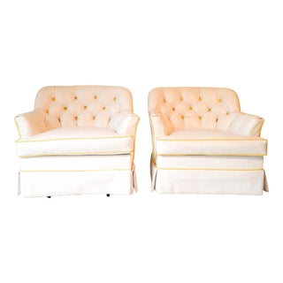 Hollywood Regency White/Yellow Tufted Swivel Club Chairs - a Pair