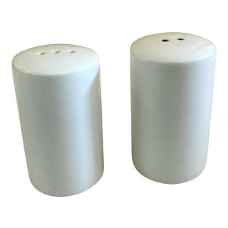Mid-Century Modern White Salt & Pepper Shakers - A Pair