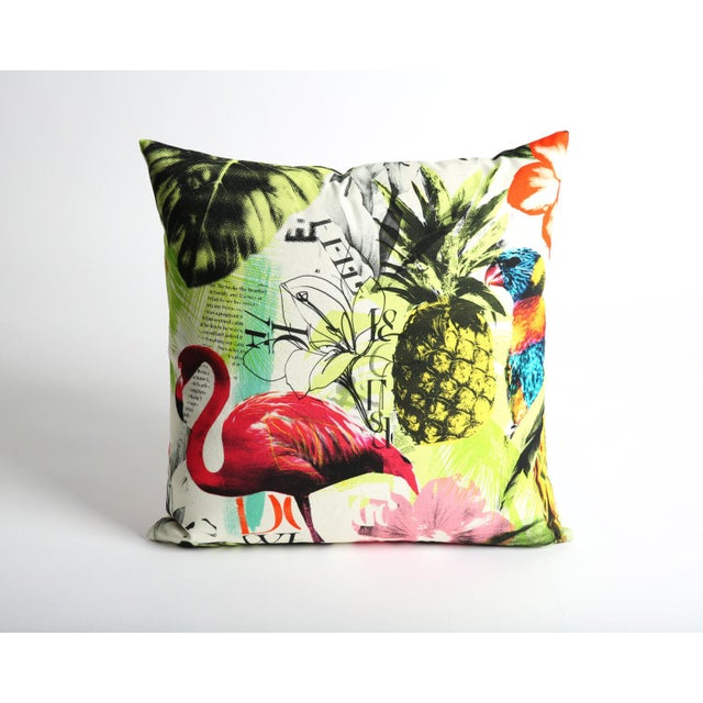 Pineapple Flamingo Art Tropical Decorative Euro Sham Pillow - Image 2 of 6