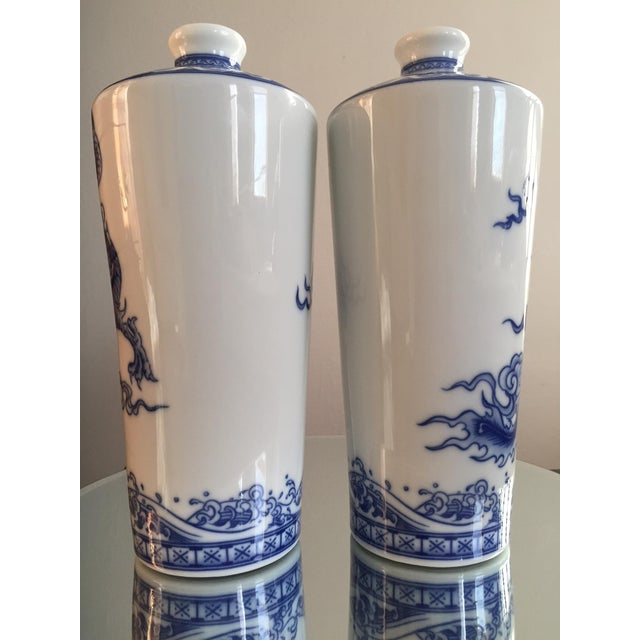 Blue and White Dragon Vases - Pair - Image 4 of 10