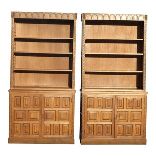 Spanish Style Teak BookCases Book Shelves Mid Century Cabinet - a Pair
