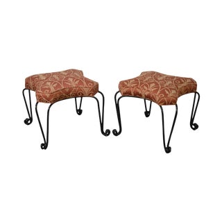 Wrought Iron Custom Upholstered Seat Stools Benches - A Pair