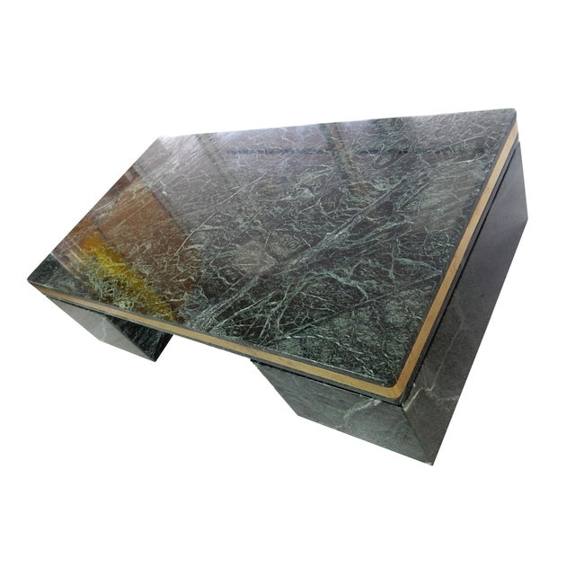 Image of 1970s Green Marble Coffee Table