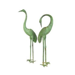 Pair Bronze Garden Cranes