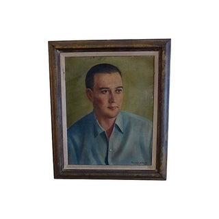 Paul Luntz Vintage 1945 Portrait of a Man Painting