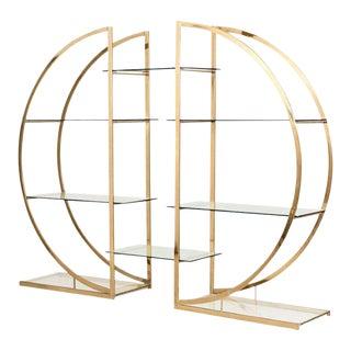 Milo Baughman Art Deco Brass Étagères - a Pair